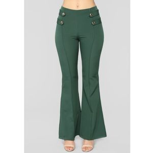 Pants - High Waisted Bell Bottom Green Pants Pleated Front
